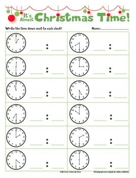 Christmas Math Activity - Telling Time