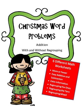Christmas Math Activity: Word Problems (6 different sheets)