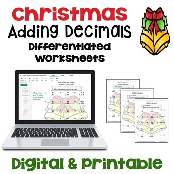 Christmas Adding Decimals Worksheets (3 Levels)