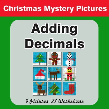 Christmas Math: Adding Decimals - Color-By-Number Math Mystery Pictures