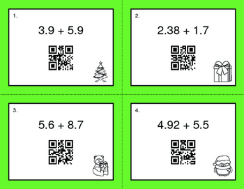Christmas Math: Adding Decimals QR Code Task Cards