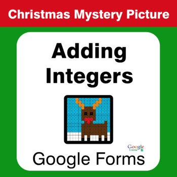 Christmas Math: Adding Integers - Mystery Picture - Google Forms
