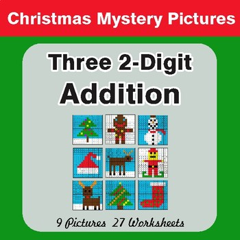 Christmas Math: Adding Three 2-Digit Addition - Color-By-Number Mystery Pictures