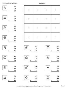 Christmas Math: Adding Three 2-Digit Addition - Math & Art - Draw by Number