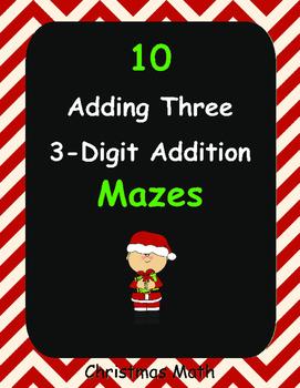 Christmas Math: Adding Three 3-Digit Addition Maze