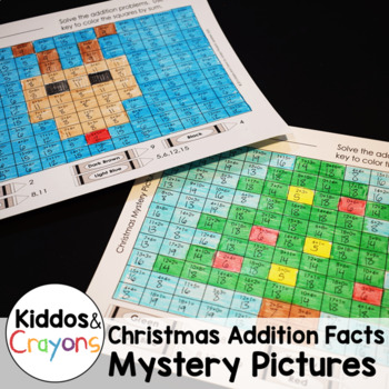 Christmas Addition Facts Within 20 Color by Number Mystery Pictures