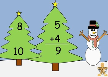 Christmas Math Addition Game on SMART Board