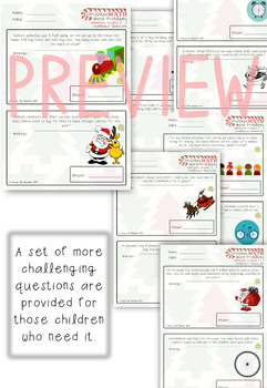 Christmas Math Addition Word Problems: Grades 3 - 4