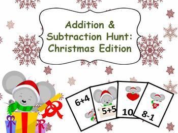Christmas Math! - Addition and Subtraction Hunt #1-10: Christmas Edition