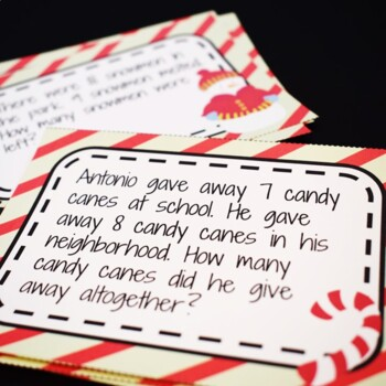 Christmas Math Addition and Subtraction Story Problem Task Cards-1. O.A. 1.1