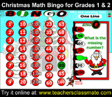 Christmas Math Bingo With Online Bingo Caller for Grades 1 and 2