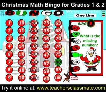 Christmas Math Bingo With Online Bingo Caller for Grades 1 and 2