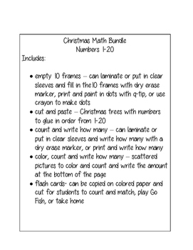 Christmas Math Bundle Numbers 1-20