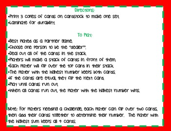 """Christmas Math Card Game-The Game of Compare or """"War"""""""