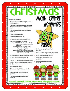 Christmas Math Center Activities - Over 87 Pages for PreK
