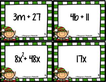 Christmas Math Center:  Algebraic Expression Match