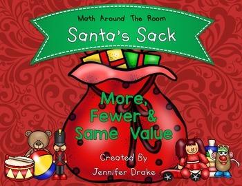 Christmas Math Center More, Fewer & Same Value