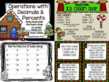 Christmas Math Center:  Operations with Decimals & Percents WORD PROBLEMS