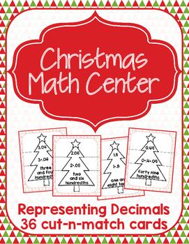 Christmas Math Center - Representing Decimals
