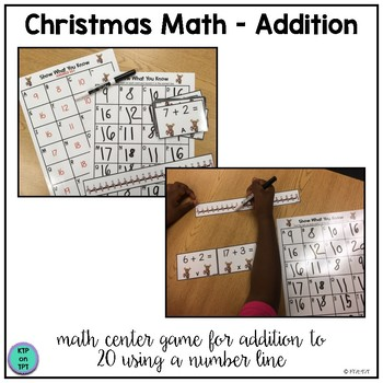 Christmas Math Center: Addition and Number Line Practice