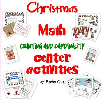 Christmas Math Center or File Folder Games for PreK/Kinder! Commoncore Aligned!