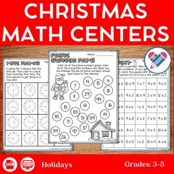 Christmas Math Centers 3rd-5th
