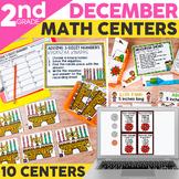 December & Christmas Math Centers for 2nd Grade | Printable & Digital