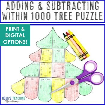 Christmas Math Centers or Games Adding and Subtracting within 1000