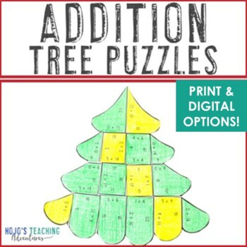 ADDITION Christmas Math Centers, Games, or Centers | Tree Puzzles