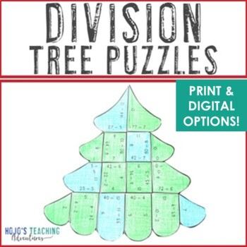 Christmas Math Centers: Division Christmas Tree Puzzles