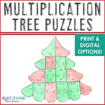 Christmas Math Centers: Multiplication Christmas Tree Puzzles