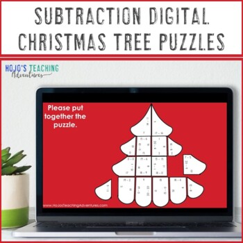 Christmas Math Centers: Subtraction Christmas Tree Puzzles