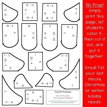 SUBTRACTION Christmas Math Centers Numbers to 20 | Tree Puzzles