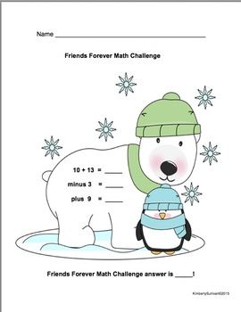 Winter Math Challenges! Grades 1-2 Early Finishers! Centers
