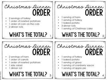 Christmas Math (Christmas Dinner Menu Math)