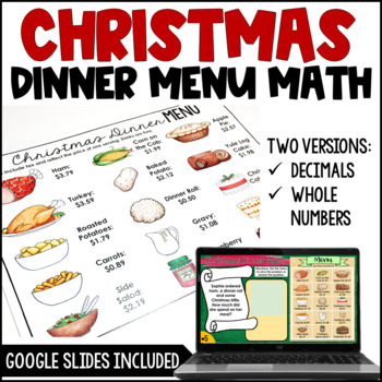 Christmas Math (Christmas Dinner Menu Math)
