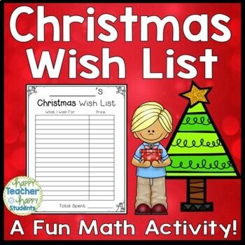 Christmas Math Activity: Christmas Wish List $100, $500, $1,000 or no limit!