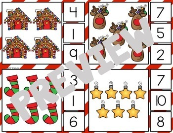 Christmas Math Centers | Clip Cards | Tallies | Ten Frames
