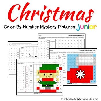 Christmas Math Color-By-Number Bundle (K-2) Christmas Math Worksheets