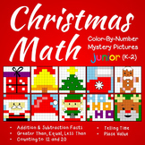 Christmas Math Color-By-Number Bundle (K-2) Mystery Pictures Worksheets
