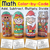 Christmas Math Color by Number Santa, Elf & Gingerbread Man Activities