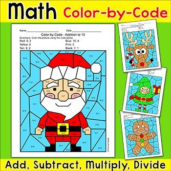 Christmas Math Addition & Subtraction: Santa, Gingerbread Man, Elf ...