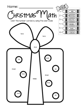 Christmas Math - Color by Math Word