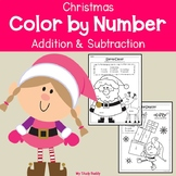 Christmas Color by Number Addition & Subtraction (First Grade)