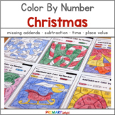 Christmas Math: Color by Number with Addition, Subtraction, Place Value & More