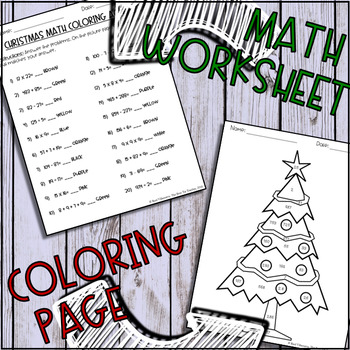 Christmas Math! Coloring Activity (Whole Number Operations)