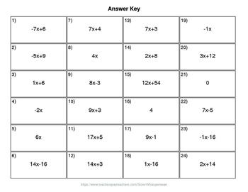 Christmas Math: Combining Like Terms QR Code Task Cards