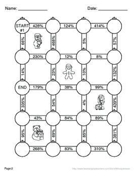 Christmas Math: Converting Decimals to Percents Maze