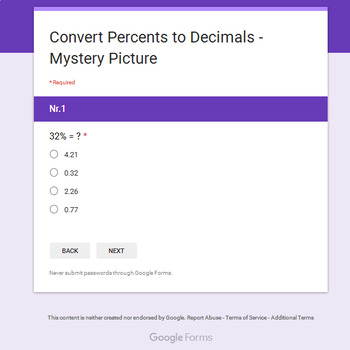 Christmas Math: Converting Percents to Decimals - Mystery Picture - Google Forms