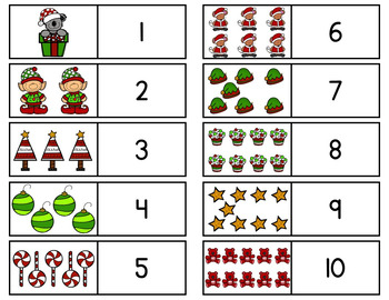 Christmas Math Counting 1 - 10 Cards & Activities / Montessori style / Hands-on